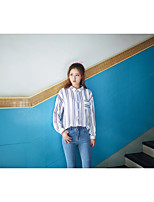 Women's Going out Casual/Daily Sexy Simple Street chic Spring Fall Shirt,Striped Shirt Collar Long Sleeves Cotton Others Thin Medium
