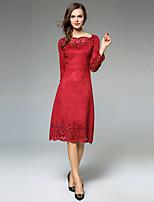 Для женщин Для вечеринок На выход На каждый день Секси Винтаж Изысканный А-силуэт Платье Однотонный,Квадратный вырез До колена Длинный