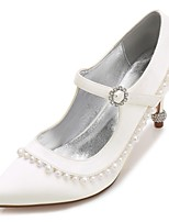Women's Shoes Satin Spring Summer Basic Pump Comfort Wedding Shoes Low Heel Kitten Heel Stiletto Heel Cone Heel Pointed Toe Rhinestone