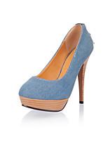 Women's Shoes Denim Spring Fall Comfort Heels Stiletto Heel Round Toe Rhinestone Zipper For Outdoor Office & Career Light Blue Dark Blue