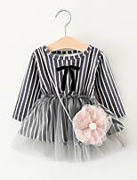 Girl's Striped Dress,Cotton Fall Long Sleeve