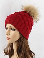 жен. Шапки Вязаная одежда Широкополая шляпа Лыжная шапочка,Осень Зима Шерсть Акрил Мех енота Однотонный Чистый цвет