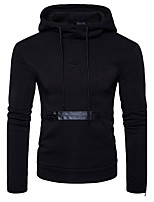 Men's Going out Casual/Daily Simple Street chic Hoodie Solid Hooded Micro-elastic Cotton Long Sleeve Winter