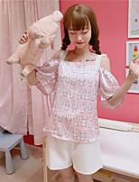 T-shirt Pantalone Completi abbigliamento Da donna Casual Semplice Romantico Estate,Animal Rotonda Manica corta