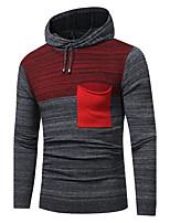 Недорогие -Для мужчин Спорт На каждый день Простой Длинный Пуловер Контрастных цветов,Капюшон Длинный рукав Полиэстер Нейлон Зима Осень Плотная