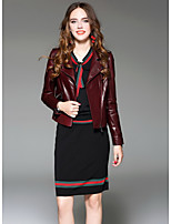 Women's Going out Street chic Winter Leather Jacket,Solid V Neck Long Sleeve Regular Lambskin