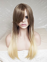 Women Synthetic Wig Capless Long Straight Strawberry Blonde/Bleach Blonde Ombre Hair Highlighted/Balayage Hair Layered Haircut Party Wig