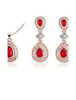 Women's Drop Earrings Pendant Necklaces Synthetic Ruby AAA Cubic Zirconia Classic Elegant Cubic Zirconia Titanium Steel Drop Earrings