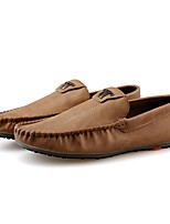 Men's Shoes PU Spring Fall Moccasin Loafers & Slip-Ons For Casual Khaki Brown Black