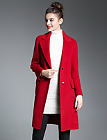 ZIYI Women's Going out Casual/Daily Street chic Fall Winter Coat,Solid Notch Lapel Long Sleeve Long Cotton Others