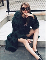 Women's Casual/Daily Work Simple Active Street chic Fall Winter Fur Coat,Solid Hooded Long Sleeve Long Faux Fur