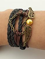 Homme Femme Bracelets Bracelets en cuir Perle imitée Cœur Fait à la main Cuir Alliage Forme de Coeur Ailes / Plume Bijoux Pour Soirée