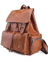 Unisex Bags All Seasons Cowhide Backpack Buttons Zipper for Casual Brown