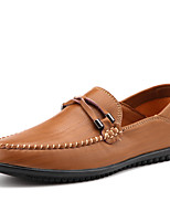 Men's Shoes Leather Spring Fall Comfort Loafers & Slip-Ons Studded For Casual Party & Evening Red Brown Black