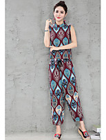 Women's Going out Simple Summer Tank Top Pant Suits,Print Crew Neck Sleeveless