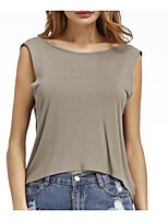 Women's Going out Club Sexy Summer Tank Top,Solid Round Neck Sleeveless Cotton Medium