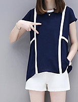 Women's Casual/Daily Cute Summer T-shirt Pant Suits,Damask Round Neck Short Sleeve