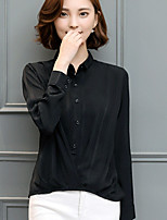 Women's Going out Simple Shirt,Solid Shirt Collar Long Sleeves Rayon