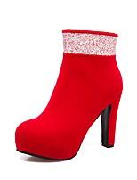 Femme Chaussures Flocage Automne Hiver Confort Bottes Gros Talon Bout rond Paillette Fermeture Pour Noir Rouge Bleu