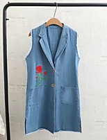 Women's Going out Casual/Daily Simple Spring Fall Vest,Solid Notch Lapel Sleeveless Long Others Embroidered