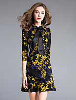 8CFAMILY Women's Going out Casual/Daily Simple Sophisticated A Line Dress,Floral Stand Above Knee Half Sleeves Polyester Nylon Fall Mid Rise