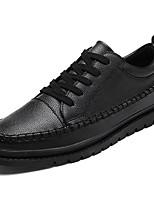 Для мужчин обувь Полиуретан Весна Осень Удобная обувь Кеды Шнуровка Назначение Повседневные Белый Черный