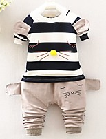 Girls' Stripe Solid Sets,Cotton Spring Fall Long Sleeve Clothing Set