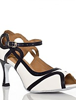 Women's Latin Silk Sandal Performance Buckle Cuban Heel Purple White 2