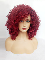 Women Synthetic Wig Capless Medium Length Jheri Curl Dark Wine With Bangs Natural Wigs Costume Wig