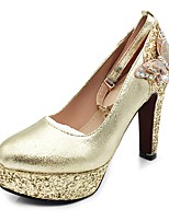 Women's Shoes Sparkling Glitter Paillette Spring Fall Basic Pump Heels Chunky Heel Platform Round Toe Bowknot Sequin Sparkling Glitter