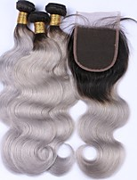 Human Hair Malaysian Hair Weft with Closure Body Wave Hair Extensions 4 Pieces Black/Grey