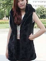 Women's Going out Casual/Daily Simple Fall Winter Fur Coat,Solid Hooded Sleeveless Regular Faux Fur Acrylic