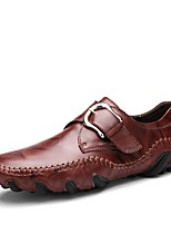 Men's Shoes Cowhide Spring Fall Comfort Loafers & Slip-Ons Buckle For Casual Red Brown Black