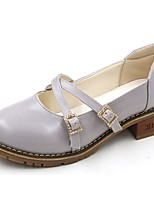 Women's Shoes PU Summer Comfort Heels Walking Shoes Flat Heel Round Toe For Casual Almond Gray