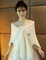 Women's Wrap Shawls Faux Fur Wedding Party/ Evening Crystal Brooch