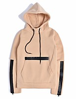 Men's Casual/Daily Street chic Hoodie Solid Hooded Inelastic Cotton Long Sleeve Fall Winter