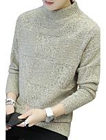 Normal Pullover Homme Sortie Décontracté / Quotidien simple Mignon Chic de Rue,Couleur Pleine Imprimé Col Roulé Manches Longues Laine