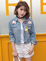 Women's Casual/Daily Simple Spring Denim Jacket,Print Shirt Collar Long Sleeve Short Others