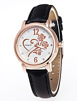 Men's Women's Wrist watch Quartz Leather Band Flower Casual Black White Blue Red Orange Brown