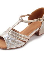 Kids' Latin Sparkling Glitter Leatherette Sandal Heel Practice Buckle Chunky Heel Gold 1
