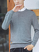 Standard Cardigan Da uomo-Casual Tinta unita Rotonda Manica lunga Cotone Autunno Spesso Media elasticità