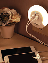 BRELONG Dual USB LED Night Light - Down Sensor Bedside Lamp with Charger for Phone AC100-240V US WHITE