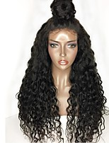 Women Human Hair Lace Wig Peruvian Human Hair Glueless Full Lace 130% Density With Baby Hair Curly Wig Black Long Natural Hairline