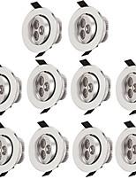 10pcs 3w levou lâmpada de teto embutida 300lm quente / lâmpada de luz branca embutida branca para iluminação interna ac85-265v