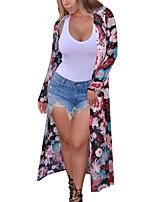 Impermeabile Da donna Per uscire Casual Spiaggia Vintage Boho Primavera Autunno,Monocolore A cappuccio Poliestere Lungo Manica lunga