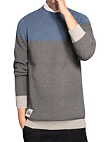 Men's Going out Casual/Daily Simple Regular Pullover,Color Block Round Neck Long Sleeves Polyester Spring Fall Medium Micro-elastic