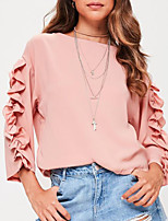 Women's Going out Casual/Daily Cute Street chic Spring Fall T-shirt,Solid Round Neck Long Sleeves Polyester Medium
