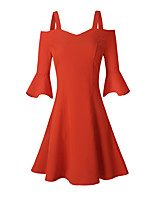 Damen A-Linie Swing Kleid-Party Klub Sexy Retro Solide Hahnentrittmuster Bateau Mini Übers Knie Langarm Polyester Sommer Herbst Hohe