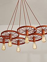Six Heads Macaron Orange Color Vehicle Wheel Pendant Lamp for the Living Room / Bedroom /Canteen Room Decorate Creative Drop Light