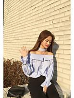 Для женщин На выход Весна Лето Рубашка Вырез лодочкой,Секси Уличный стиль Полоски Длинный рукав,Хлопок,Плотная